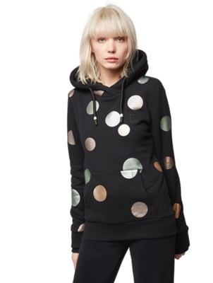 Hooded Sweatshirt with Shiny Polka Dots