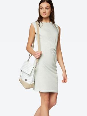Knielanges Kleid mit origineller Zierblende