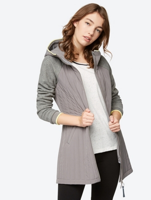 Short Quilted Coat with High-Closing Hood