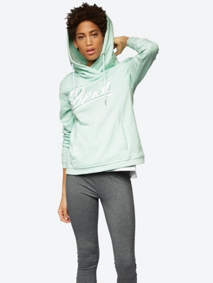 Solid Colour Hoodie with Bench Print