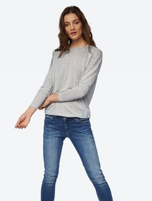 Casual Long-Sleeved Top with Back Slit