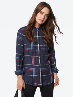 Checked Blouse with Patch Chest Pocket