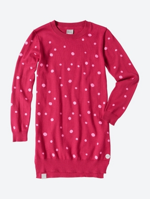 Knitted Dress with Printed Spotty Pattern