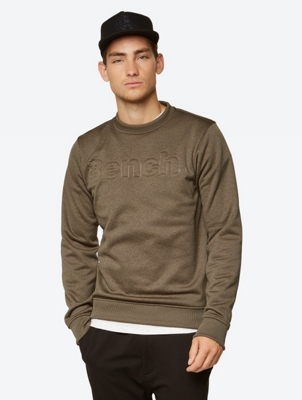 Crew Neck Sweater with Embossed Bench Logo