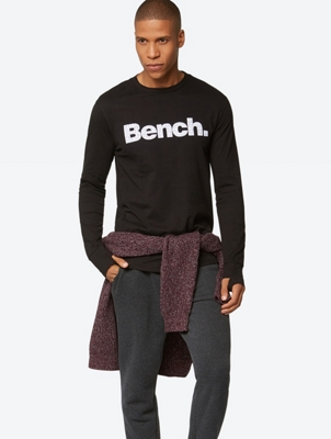 Long-Sleeve Shirt with Flocked Bench Writing on the Front