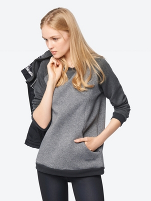 Melange Sweatshirt with Raglan Sleeves