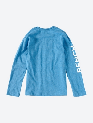 Melange Long Sleeve T-Shirt with Logo Print and Arm Detail
