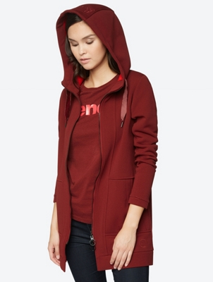 LONG STRAIGHT ZIP THROUGH HOODY