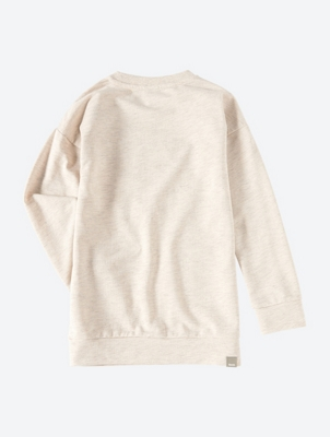 Melange Crew Neck Sweatshirt with Embroidered Bird Motif