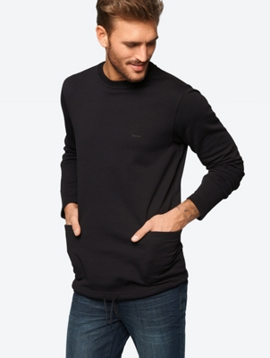 Plain Sweatshirt with Tone-in-Tone Print