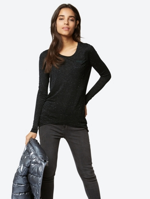 Long-Sleeve Top with Metallic Fibres