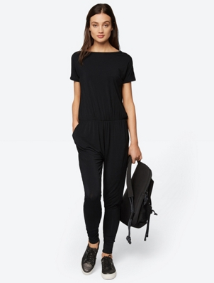 Short Sleeve Jeresy Jumpsuit with V Wrap Back Detail