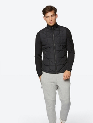 Slightly Padded Quilted Gilet Portend with Reversible Function
