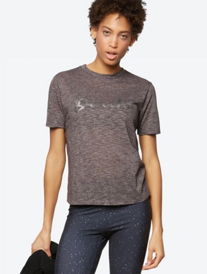 Sequin Logo Tee with Mottled Yarn Structure