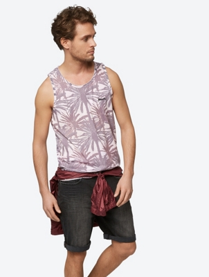 Vest with All-Over Palm Print