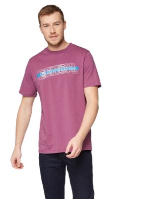 T-Shirt mit gummiertem Bench-Print vorne