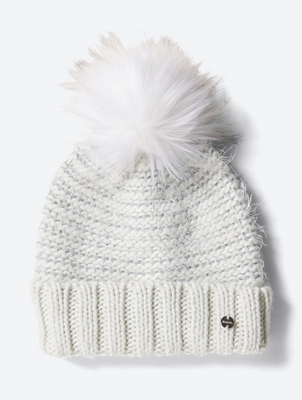 Hat with Bobble and Metallic Fibres