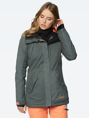 Water Repellent Parka with Partially Patterned Lining