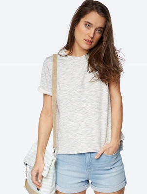 Short-Sleeved Sweatshirt in Melange Look