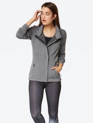 Melange Jacket with Reflective Bench Print