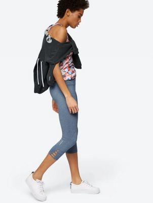 Melange Leggings with Cut-Outs