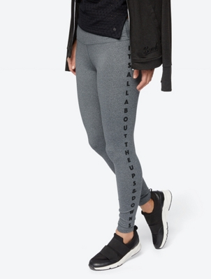 Marl Leggings with Stripe Pattern