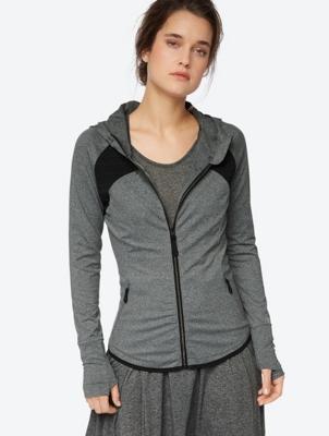 Melange Shirt Jacket with Hood