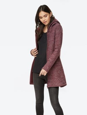 Long Hooded Jacket with Fleece Lining