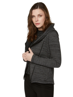 Melange cardigan with asymmetric hem