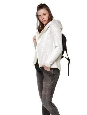 Melange Cardigan with Asymmetric Hem