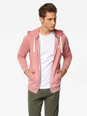 Marl Sweat Jacket with Divided Kangaroo Pocket