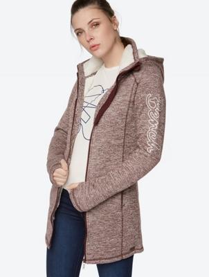 Melange Knit Fleece Jacket in Longline Cut