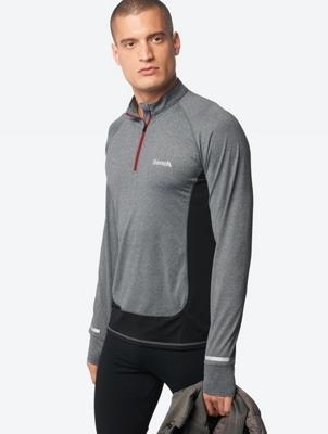 Mottled Long-Sleeve Shirt with Short Zip