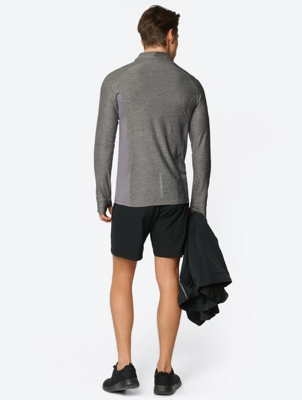 Marl Long Sleeve Top with Zip Panel