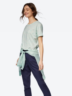 Melange T-Shirt with Turnover Cuffs