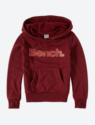Hoodie with Glittering Bench Lettering on the Front