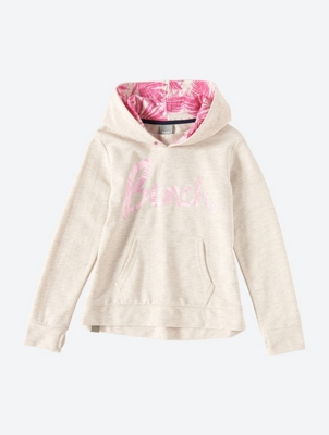 Hoodie with Glitter Logo Print and Palm Print Hood Lining