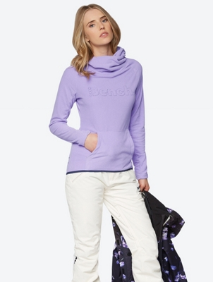 Fleece Hoodie with Buttoned Cowl Neck