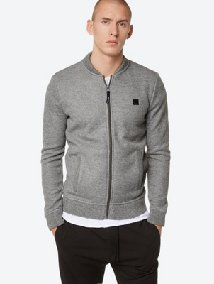 Marl Knit Fleece Jacket with Standing Collar