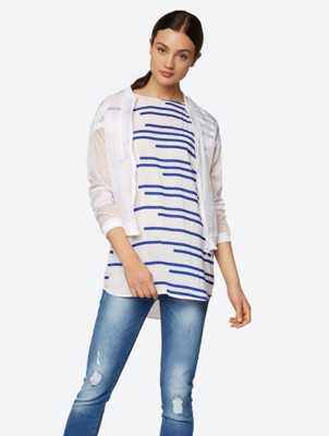 Oversized Top with Stripe Print