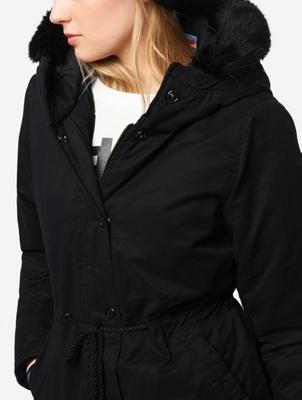 Wasserabweisende Jacke mit Kapuze und Tunnelzug in der Taille