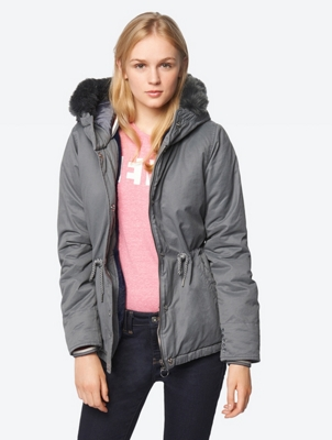 Water Repellent Jacket with Hood and Drawstring at the Waist