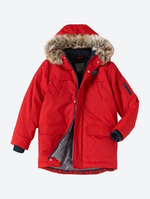 Water Repellent Parka with Removable Faux Fur Collar on the Hood