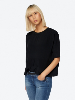 Delicate Loose Fit Top with Panel Detailing