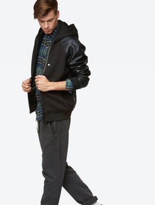 Sweat Jacket with Artificial Leather Elements