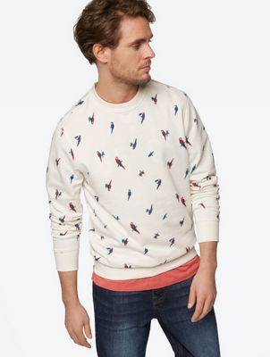 Printed Sweatshirt with Ribbed Cuffs and Hemline