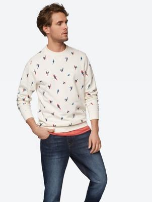 Bedrucktes Sweatshirt mit gerippten Abschlüssen