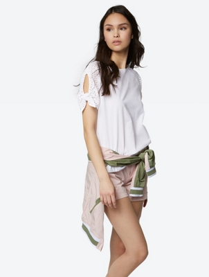 Plain Blouse with Eyelet Embroidery