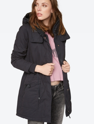 Parka Jacket with Teddy Fur Collar and Removable Hood