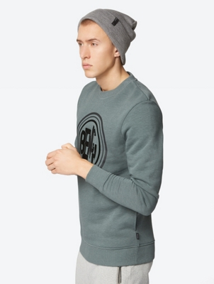 Soft Crew Neck Sweater with Logo Graphic